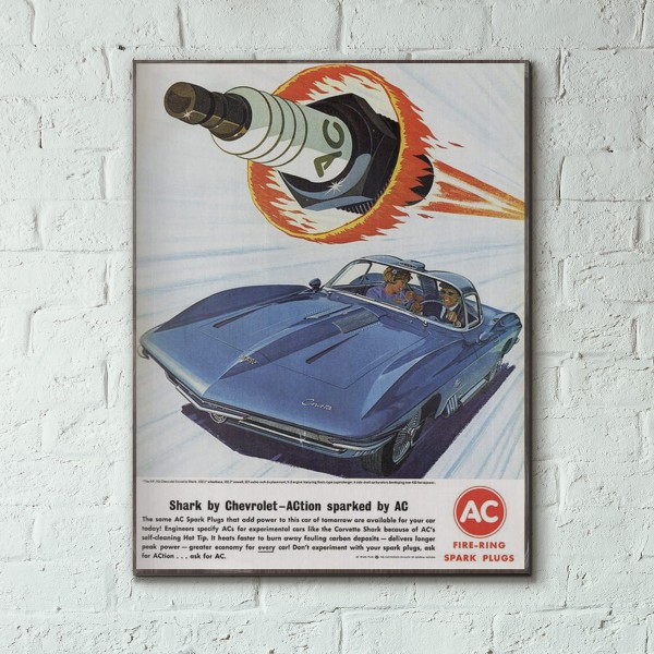 AC Spark plug Vintage Ad from 1963 Wood Sign