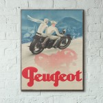 Peugeot Bikes Vintage Ad from 1929 Wooden Poster