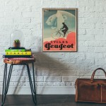 Peugeot Bicycles Vintage Ad from 1931 Wooden Poster