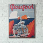 Peugeot Vintage Motorcycle Ad from 1931 Wooden Poster