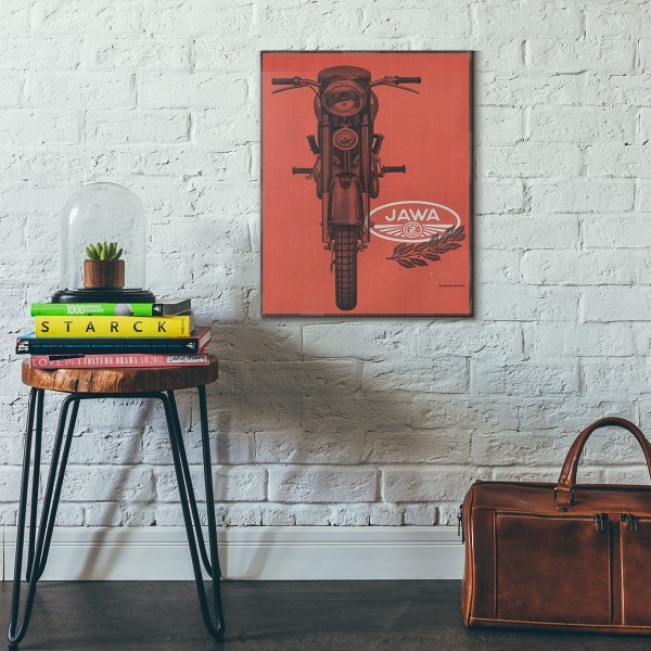 Zawa 350 Vintage Motorcycle Ad from 1955 Wooden Poster