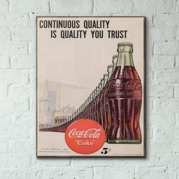Coca-Cola Vintage Ad from 1947 Wood Sign