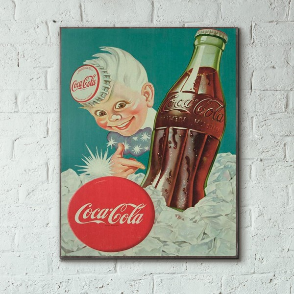 Coca-Cola Vintage Italian Ad from 1942 Wood Sign