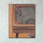 Vintage Television Japanese ad from 1968 Wooden Poster