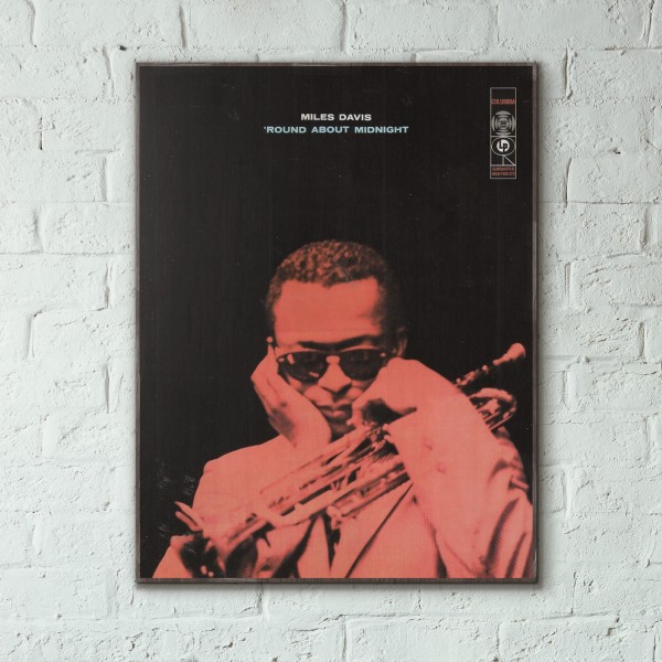 Miles Davis' Round About Midnight Album Cover from 1957 Wooden Poster