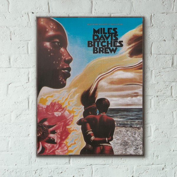 Miles Davis' Bitches Brew Album Cover from 1970 Wooden Poster