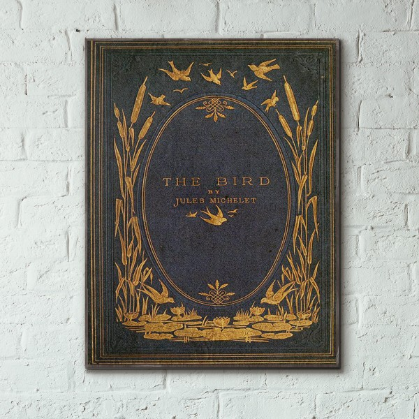 The Bird by Jules Michelet Book Cover 1869 Wooden Poster