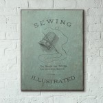 Sewing Illustrated Vintage Book Cover 1912 Wooden Poster