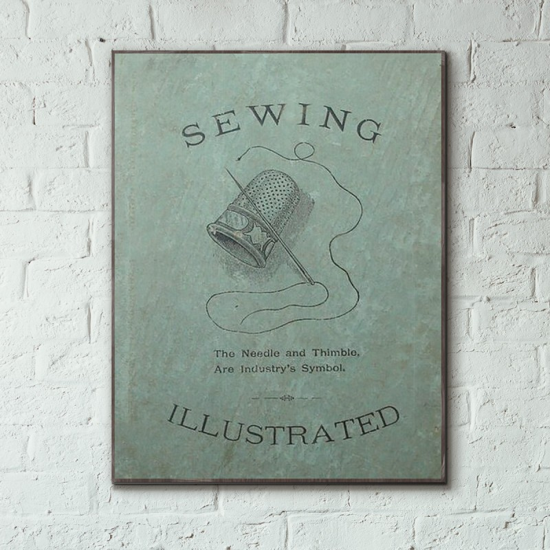 Book Cover Sewing S : Sewing illustrated vintage book cover wooden poster
