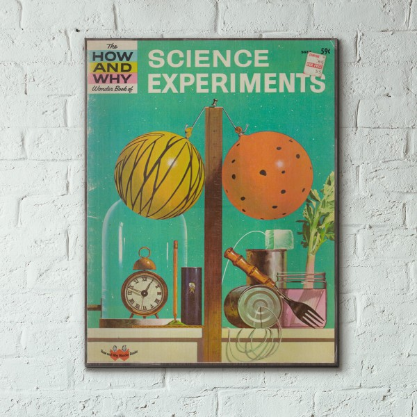 The How and Why Wonder Book of Science Experiments Cover 1962 Wooden Poster