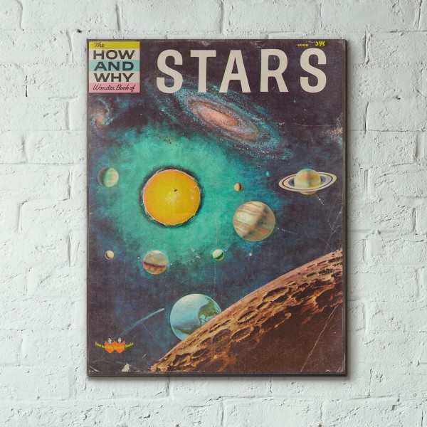 The How and Why Wonder Book of Stars Cover 1962 Wooden Poster