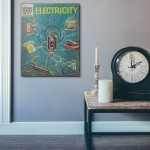 The How and Why Wonder Book of Electricity Cover 1962 Wooden Poster