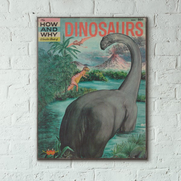 The How and Why Wonder Book of Dinosaurs Cover 1960 Wooden Poster