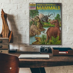 The How and Why Wonder Book of Prehistoric Mammals Cover 1962 Wooden Poster