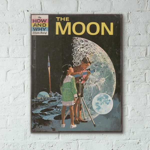 The How and Why Wonder Book of The Moon Cover 1965 Wooden Poster