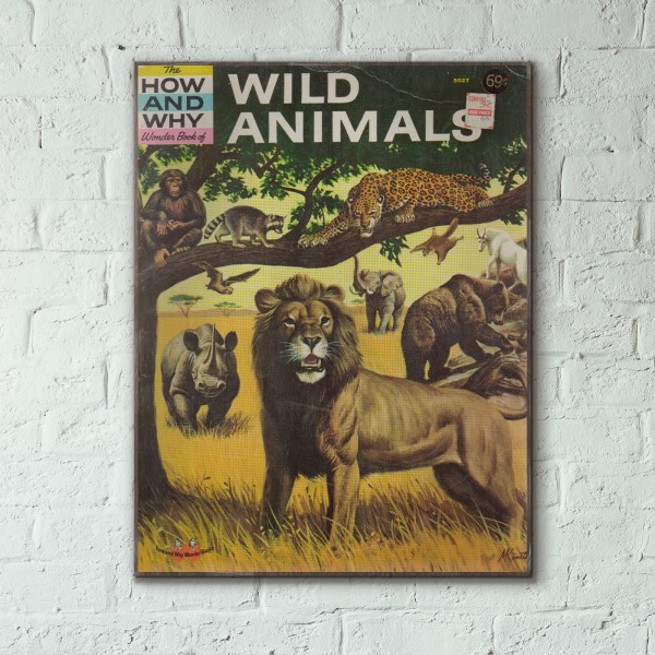 The How and Why Wonder Book of Wild Animals Cover 1962 Wooden Poster