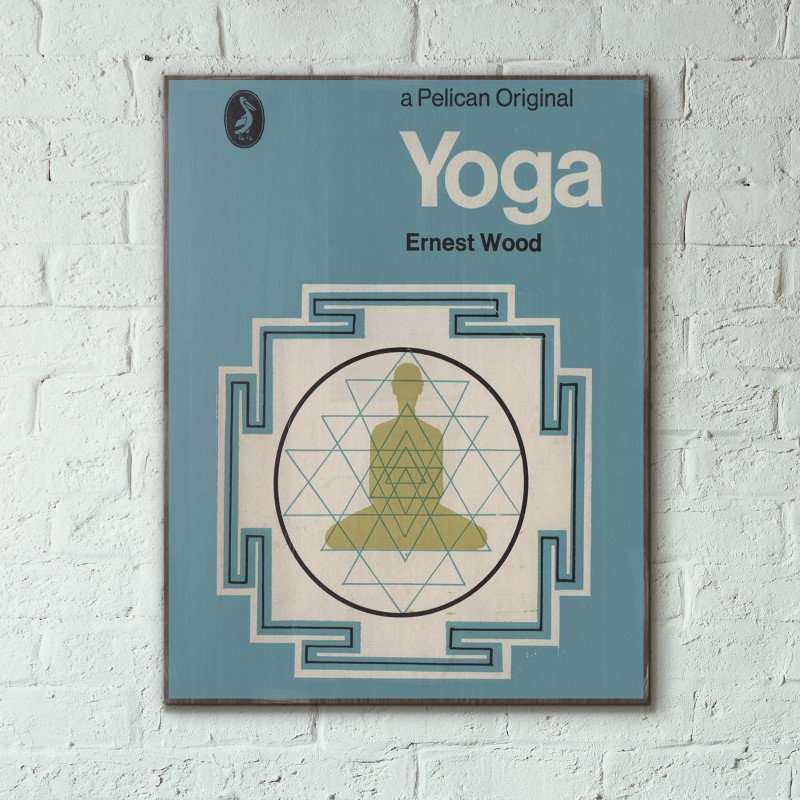 Fashion Book Cover Yoga ~ Pelican book covers yoga wooden poster