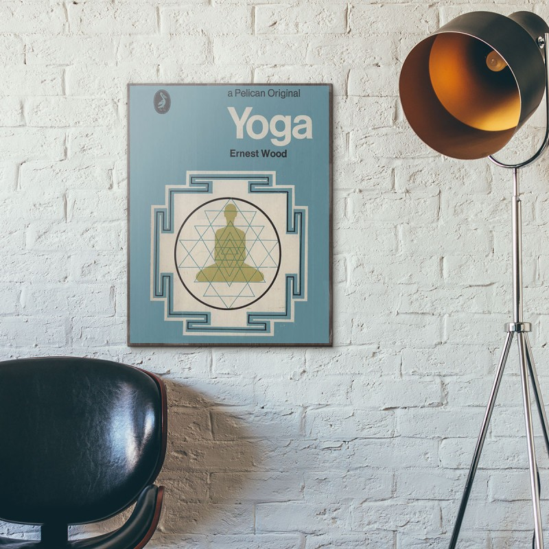 Classic Book Cover Yoga ~ Pelican book covers yoga wooden poster