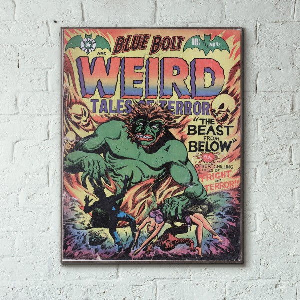 Blue Bolt Weird Tales of Terror  #112 1952 Wood Sign