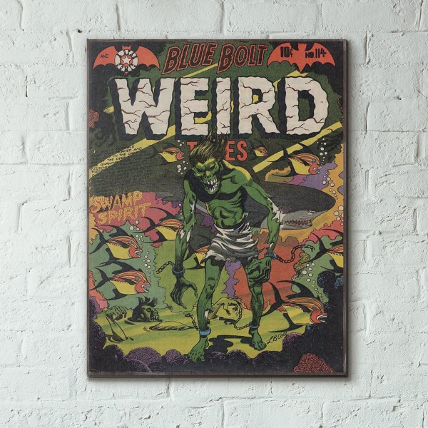 Blue Bolt Weird Tales of Terror #114 1952 Wood Sign