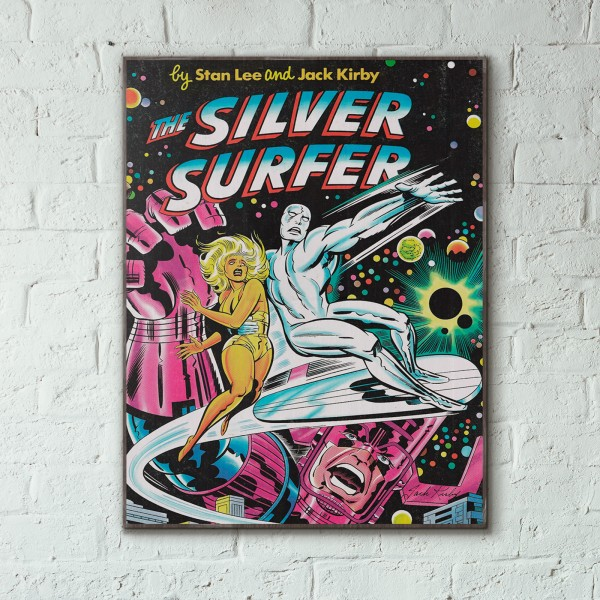 Marvel's The Silver Surfer Jack Kirby Cover 1977 Wooden Poster