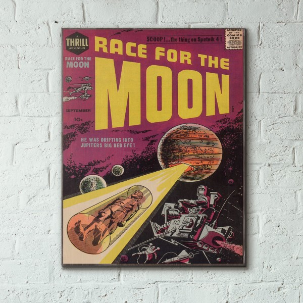 Harvey Comics' Race for the Moon Issue #2 1958 Wood Sign