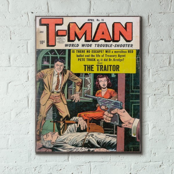T-Man Issue #15 1954 Wood Sign