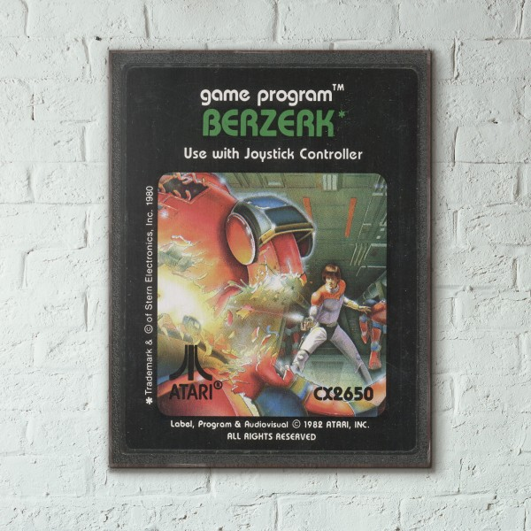 Atari 2600 Game Catridge - Berzerk from 1982 Wooden Poster