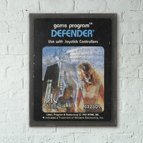Atari 2600 Game Catridge - Defender from 1981 Wooden Poster
