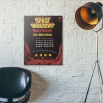 Space Invaders Vintage Advertisement from 1978 Wooden Poster