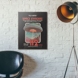 Taito Space Invaders Catridge Package from 1978 Wooden Poster
