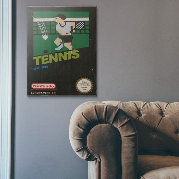 Nintendo NES Game Catridge - Tennis from 1984 Wooden Poster