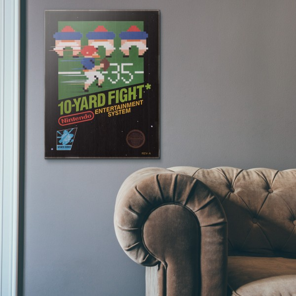 Nintendo NES Game Catridge - 10-Yard Fight from 1983 Wooden Poster