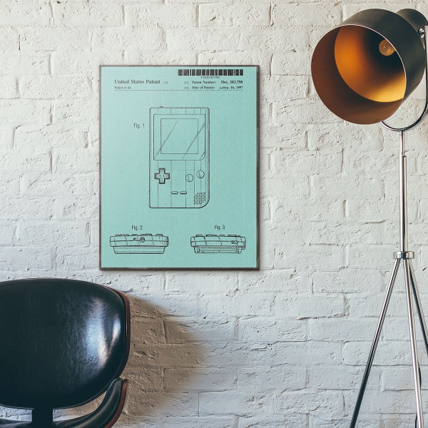 Nintendo Game Boy 1997 Patent #2 Original Wooden Poster
