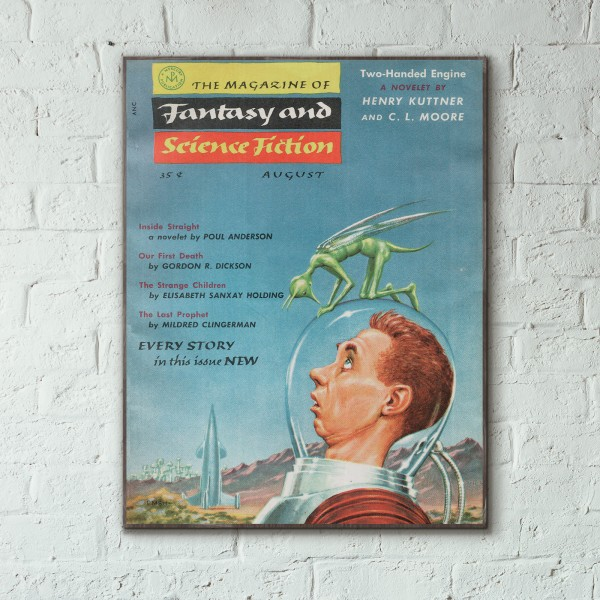Magazine of Fantasy & Science Fiction Cover August 1955 Wooden Poster