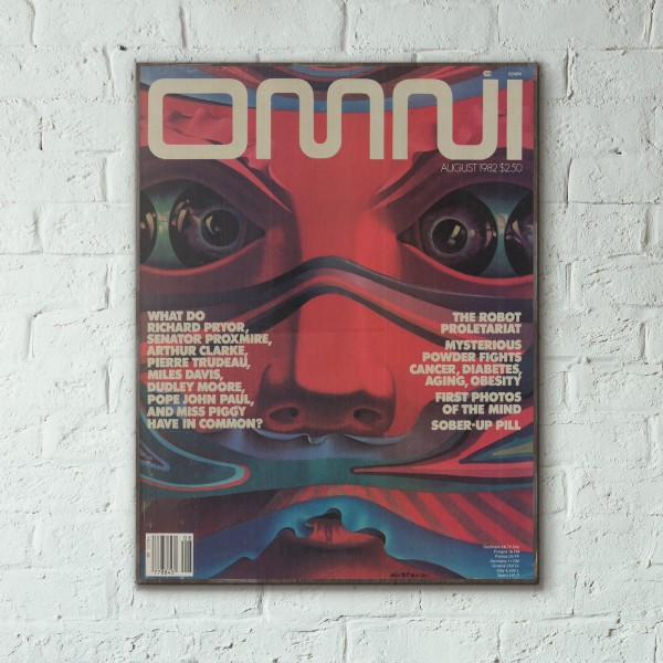 Omni Magazine Cover August 1982 Wooden Poster