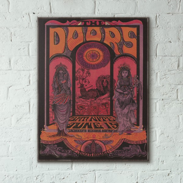 The Doors Sacramento Memorial Auditorium Concert from 1970 Wooden Poster