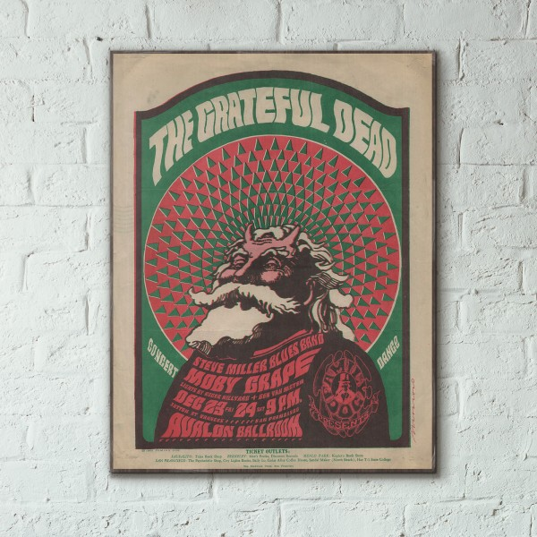 Family Dog presents The Grateful Dead Avalon Ballroom 1966 Concert Wooden Poster