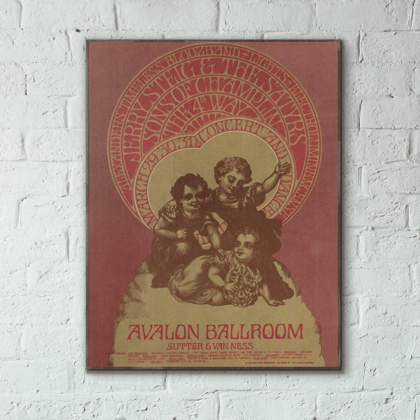 Family Dog presents Jeremy Steig and the Satyrs Avalon Ballroom 1968 Concert Wooden Poster