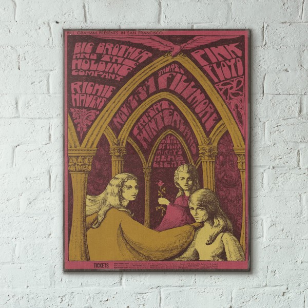 Family Dog presents Pink Floyd Avalon Ballroom 1967 Concert Wooden Poster