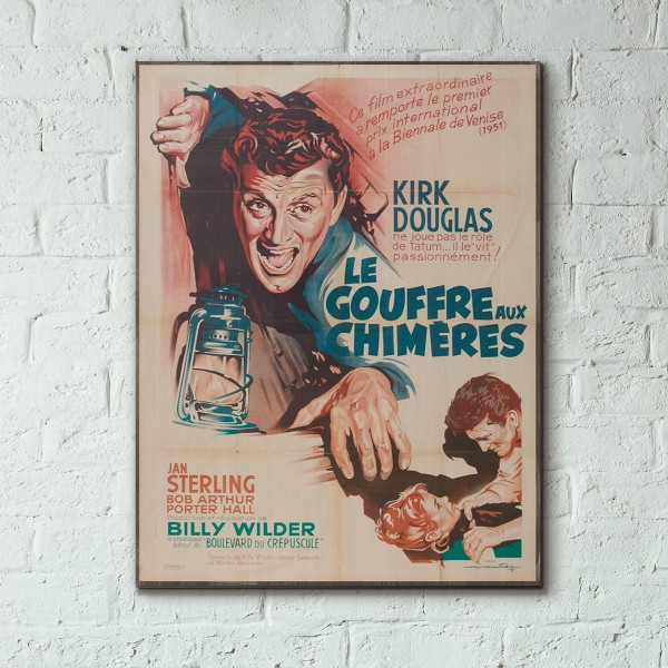 Billy Wilder's Ace in the Hole 1951 French Wooden Poster