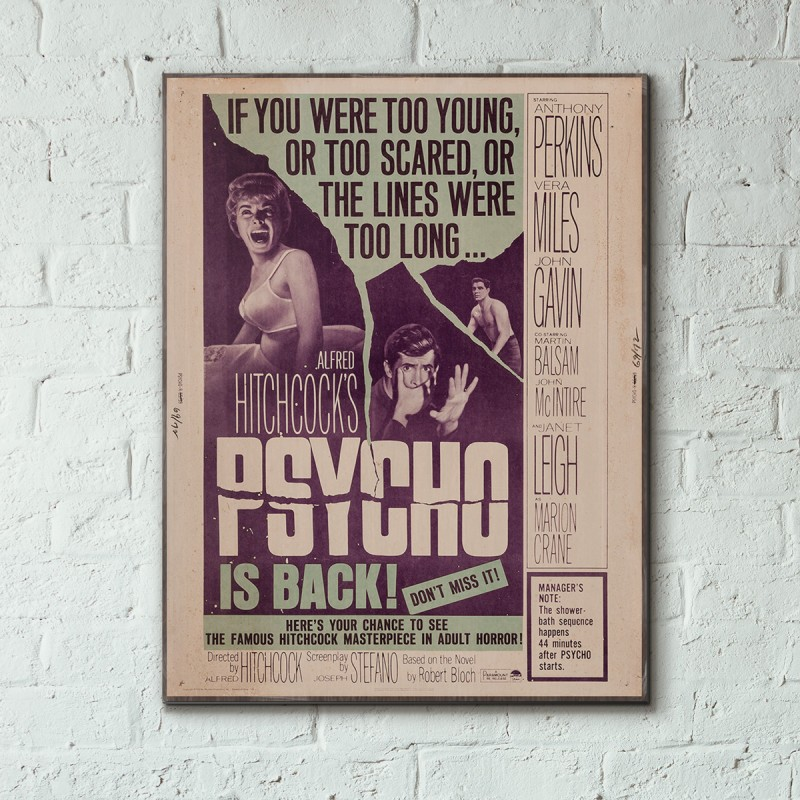 Alfred Hitchcock's Psycho 1960 Wooden Poster | Woodenposters com