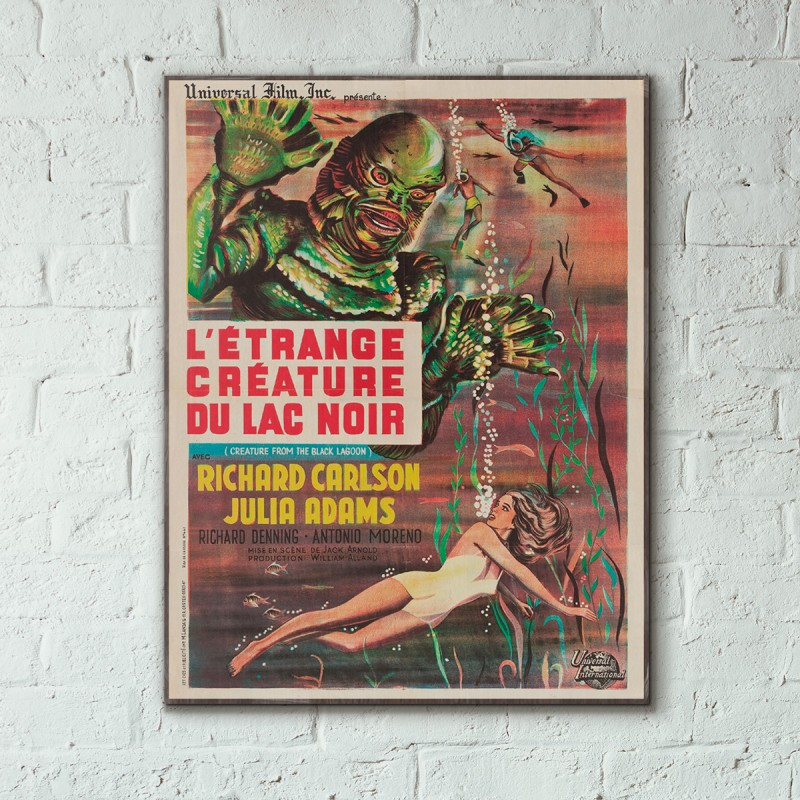Vintage Sci Fi Horror Movie Poster Godzilla 1965 Invasion: Creature From The Black Lagoon 1954 French Wooden Poster