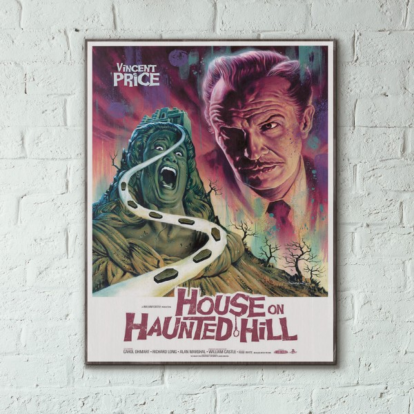 House On Haunted Hill 1958 Wooden Poster