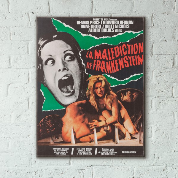 La maldición de Frankenstein 1973 French Exploitation Monster Movie Wooden Poster