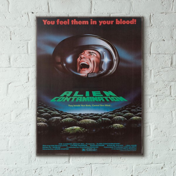 Alien Contamination 1980 Sci-Fi Horror Film Wooden Poster