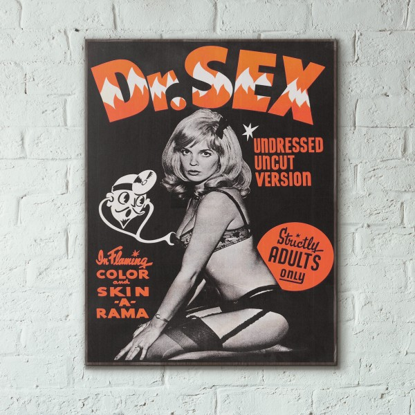 Dr. Sex 1964 Sexploitation Movie Wooden Poster