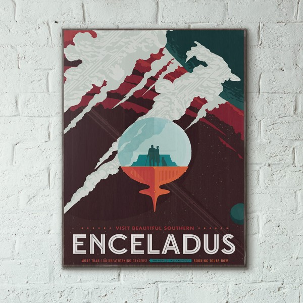 NASA Visions of the Future - Enceladus Wooden Poster