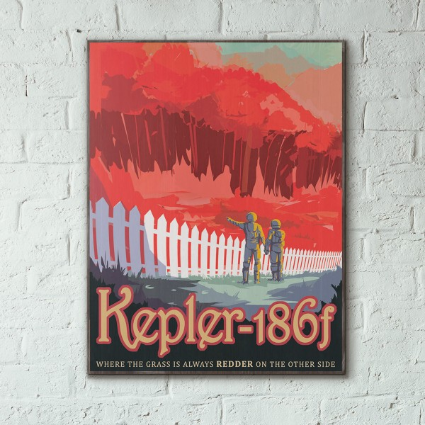 NASA Visions of the Future - Kepler 186f Wooden Poster