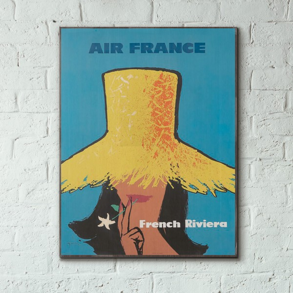 Air France - French Riviera 1962 Wooden Travel Poster